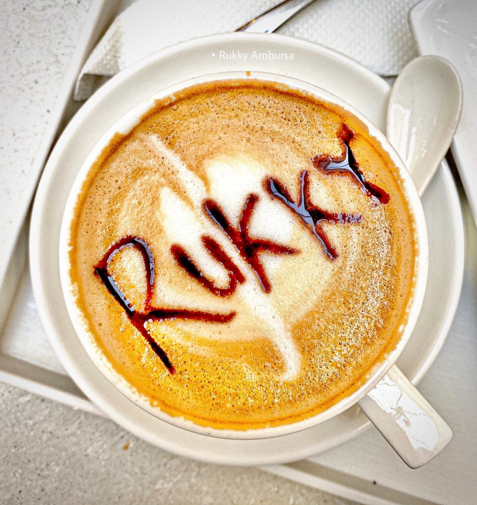 Cappuccino coffee with customised writing